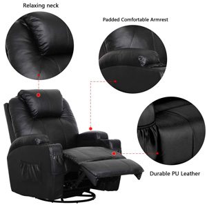 Esright Heated PU Leather Ergonomic Massage Recliner Chair